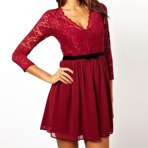 ASOS 3/4 Sleeve Lace Scallop Skater Dress SZ 4
